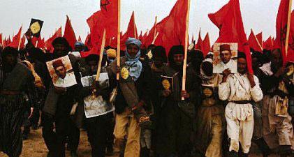 حمل المتظاهرون في المسيرة الخضراء الأعلام المغربية