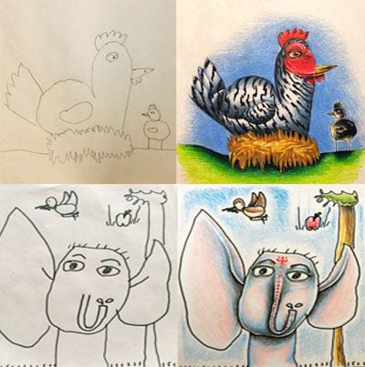 أب يقوم بتلوين رسومات أطفاله الصغار.. والنتيجة مدهشة!