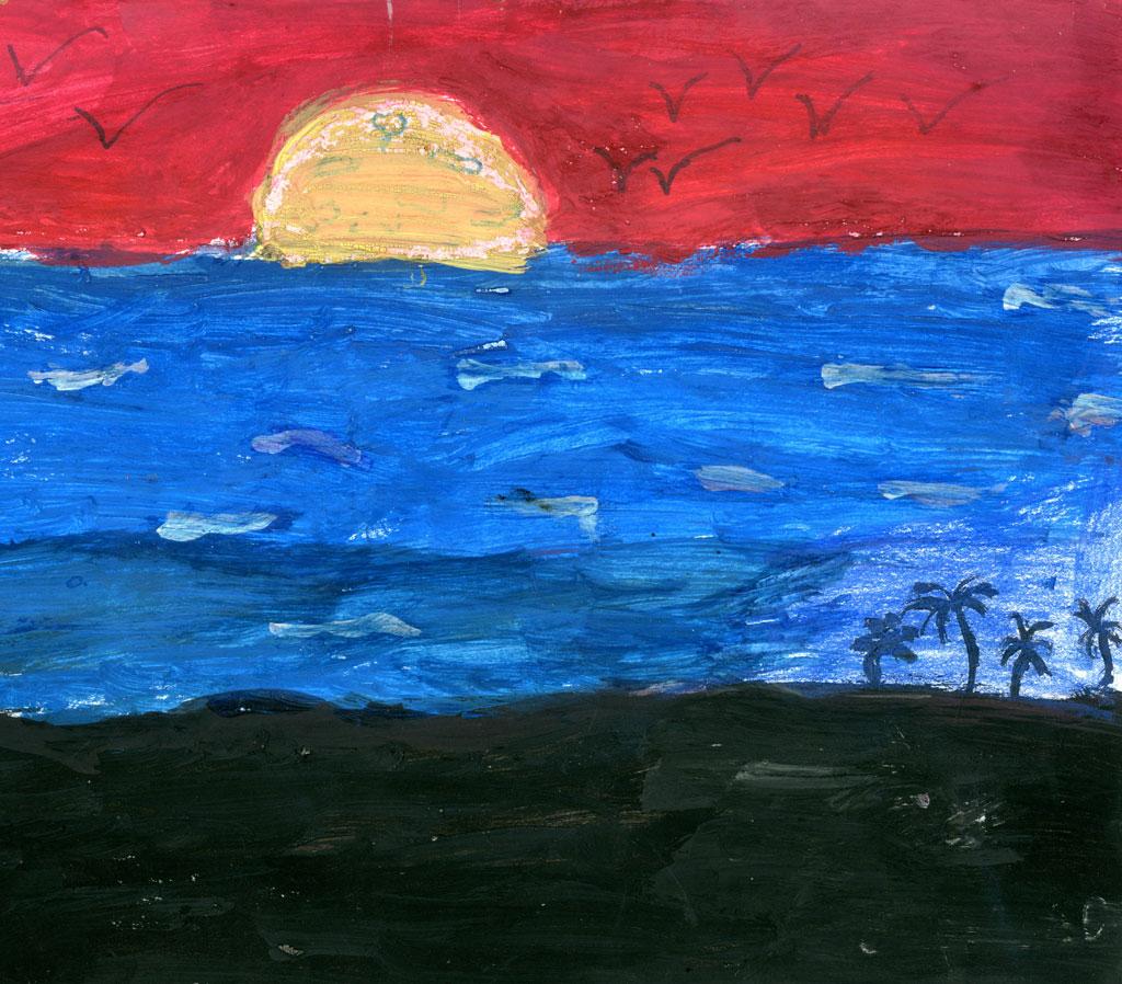 لحظة غروب الشمس على البحر
