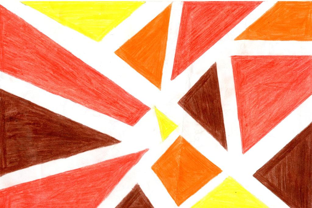 لوحة فنية بالألوان الخشبية